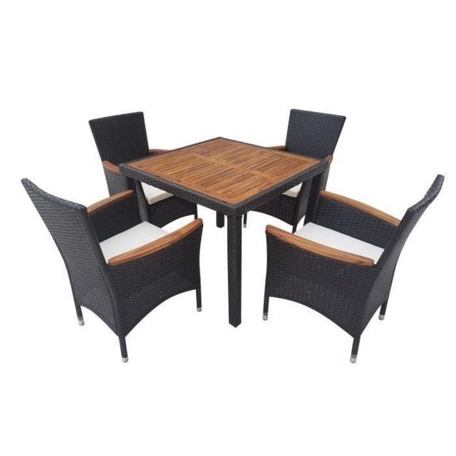 Salon De Jardin - Ensemble Table Chaise Fauteuil De Jardin Atlanta Ensemble  table avec plateau acacia et 4 fauteuils en résine tressée - 90 x 90 x 75  ...