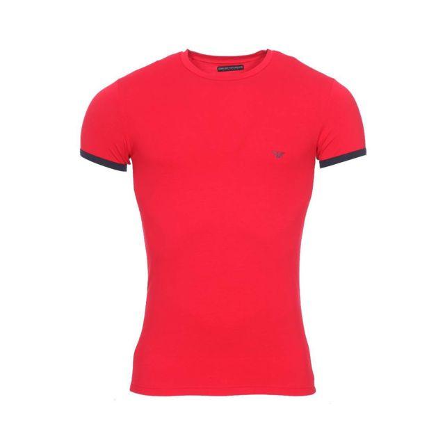 Armani Ea7 - Tee-shirt col rond Emporio Armani en coton stretch rouge  floqué en 593f7ef41a1