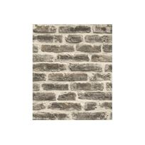 Declikdeco - Papier Peint Style Trompe-L'?il Mur De Briques Gris Foncé Azemia
