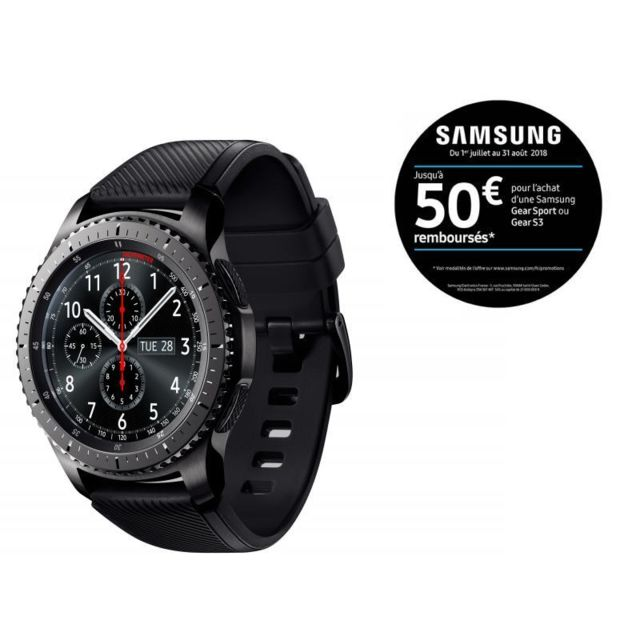 samsung gear s3 frontier r760 noir pas cher achat. Black Bedroom Furniture Sets. Home Design Ideas