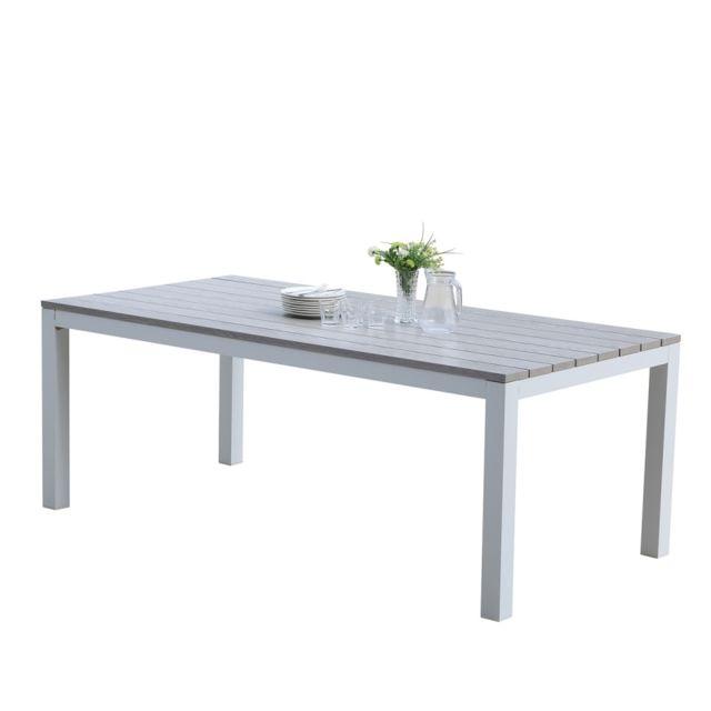 Bois Dessus Bois Dessous Table de jardin en aluminium blanc et gris 8 places