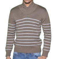 Stef Wear - Pull - Homme - Col Echarpe - 709 - Marron Rayures Blanches