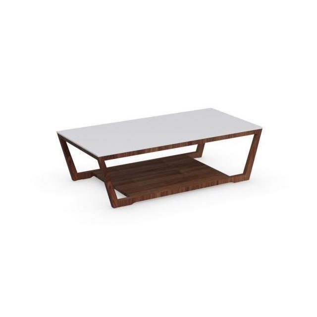 e33b468a3de055 Inside 75 - Table basse Element noyer avec plateau en verre blanc ...