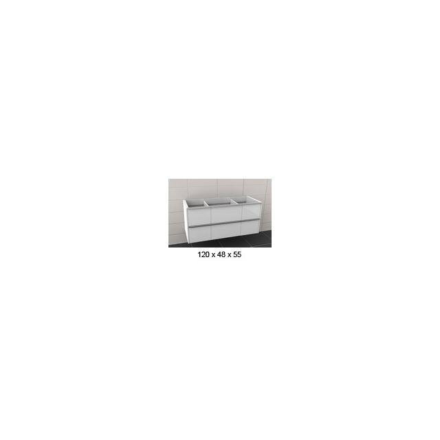 Riho Sous meuble de lavabo en bois laqué brillant à 6 portes Andora 120x55x48cm