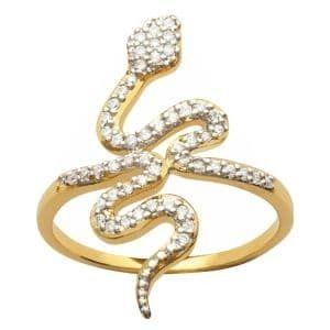 sochicbijoux so chic bijoux bague femme anneau serpent oxyde de zirconium blanc plaqu or. Black Bedroom Furniture Sets. Home Design Ideas