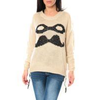 No Name - De Fil en Aiguille Pull Moustache C320 Écru - 1 acheté = 1 offert