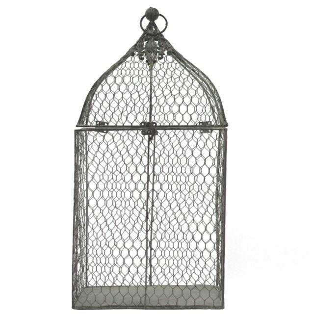 L'ORIGINALE Deco Cage à Oiseaux de Déco Rectangle Rectangulaire Gris 53 cm