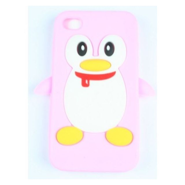 coque iphone 4 4s rose pale pingouin silicone