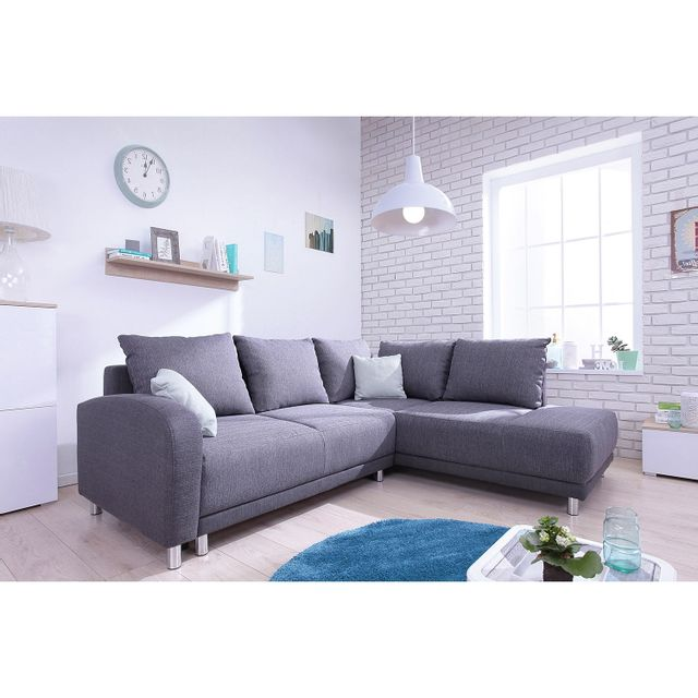 Bobochic Canapé convertible scandinave Minty Grand Angle droit - tissu gris anthracite