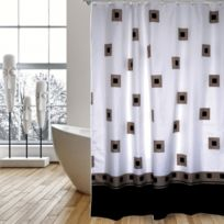 Rideau De Douche Polyester 180x200cm Carres Noirs Et Marrons