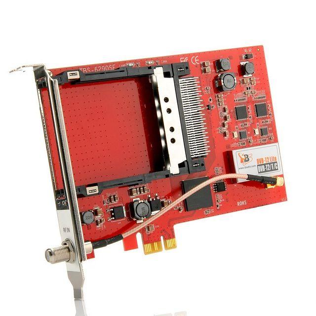 TBS - TBS6528 Carte PCIe Tuner TV Multi-Standard DVB-S/S2/S2x DVB-T/T2 DVB-C & ISDB-T Satellite, TNT et le câble, avec 1 CI slot pour chaînes 1080p Full HD et SD - Multi Standard Tv Tuner CI PCI-e Card