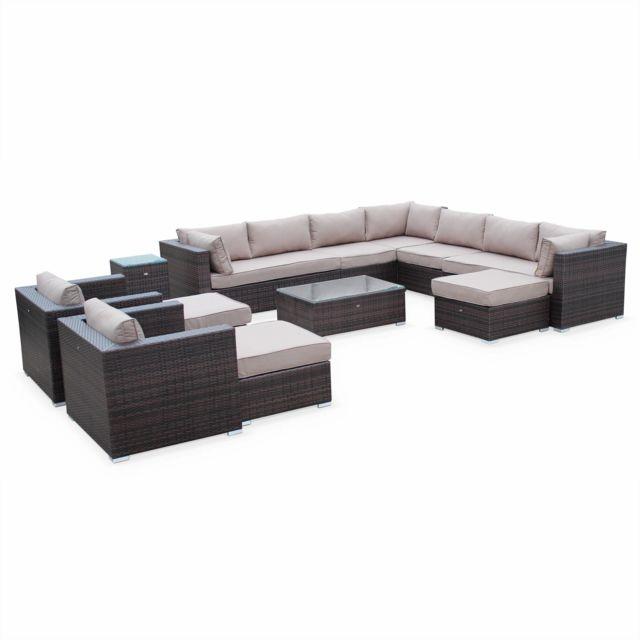 alice 39 s garden salon de jardin en r sine tress e xxl tripoli chocolat coussins marron. Black Bedroom Furniture Sets. Home Design Ideas