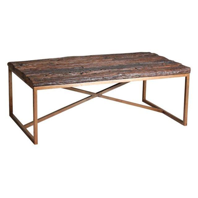 AUBRY GASPARD Table basse en acier cuivré et bois massif