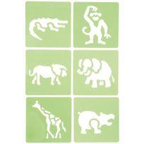 Dtm - pochoir plastique animaux jungle - paquet de 6