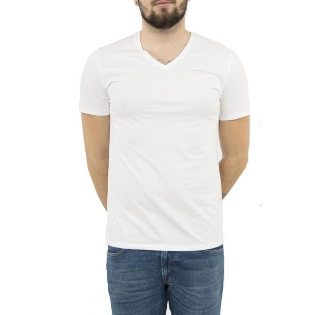 5ee38354ce7 Guess - Tee shirt jeans m82i20 pima blanc XXL - pas cher Achat   Vente Tee  shirt homme - RueDuCommerce
