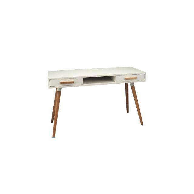 Bureau 120x45x75cm coloris blanc et chêne - Baltic