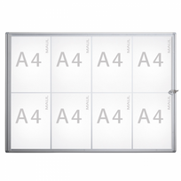 Maul - Vitrine d'affichage murale pour intérieur - 8 x format A4 - vitrine extra-plate en verre synthétique