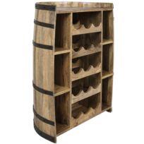comforium meuble bar contemporain 83 cm en bois de manguier massif coloris naturel