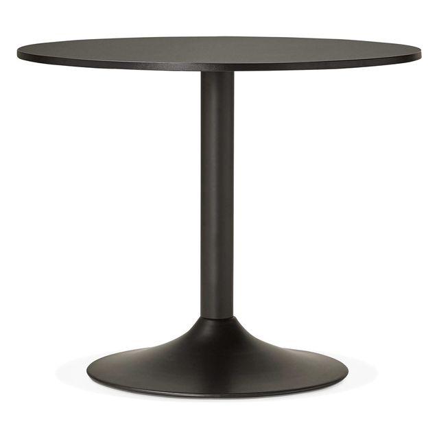 Alterego Petite table de bureau/à diner ronde 'ATLANTA' noire - Ø 90 cm
