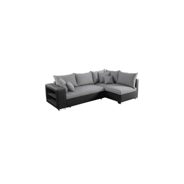 Sans Marque Valencia Canape Dangle Droit Convertible 5 Places + Coffre De Rangement - Tissu Gris Et Simili Noir - L 255 X P 165 Cm