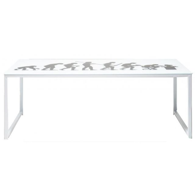 Karedesign Table Homo Sapiens blanche en verre