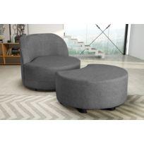 Modern Sofa - Fauteuil + pouf gris