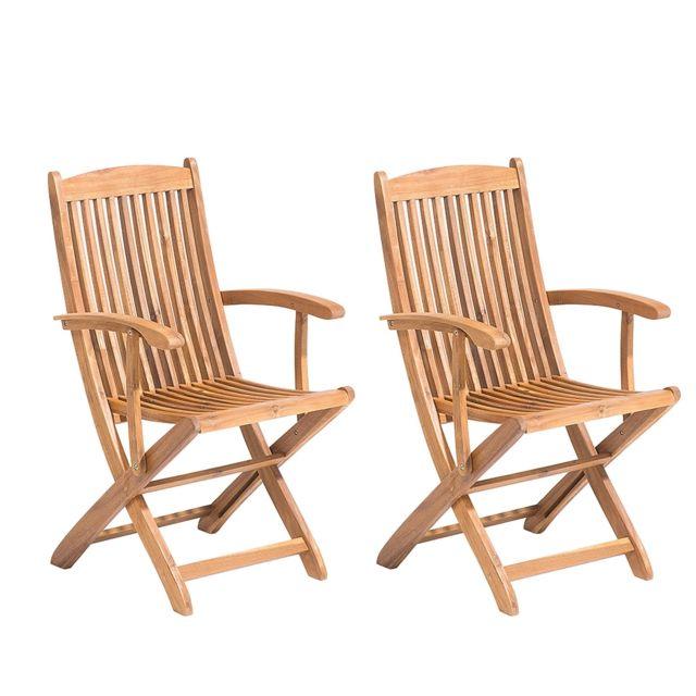 Lot de 2 chaises en bois acacia avec accoudoirs MAUI
