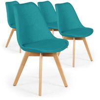 Menzzo - Lot de 4 chaises scandinaves Conor tissu Bleu vert