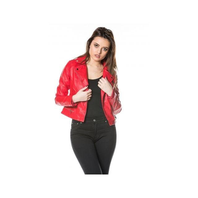 65fc32728aef4 Princesse Boutique - Veste perfecto Rouge en simili cuir - pas cher ...