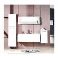 Rocambolesk - Magnifique meuble salle de bain plume blanc : ensemble salle de bain 3 meubles + 1 vasque + 1 miroir