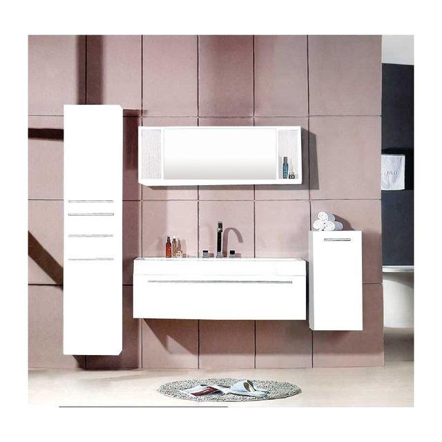 Rocambolesk magnifique meuble salle de bain plume blanc Meuble de salle de bain pas cher