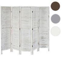 Mendler - Paravent / s?paration bois, 5 pans, 228x2x170cm, shabby, vintage, blanc