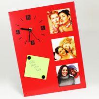 Horloge de table avec cadre photos - Rouge