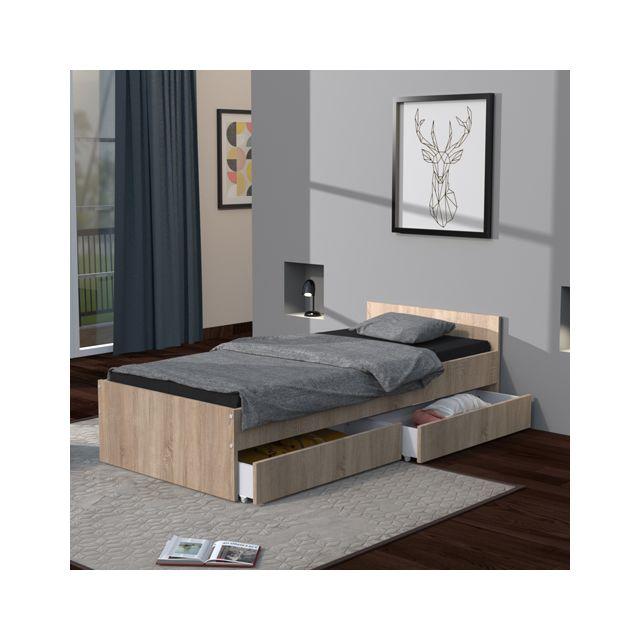 Lit KAPPA 90x200 + 2 tiroirs / Chêne Blanchi