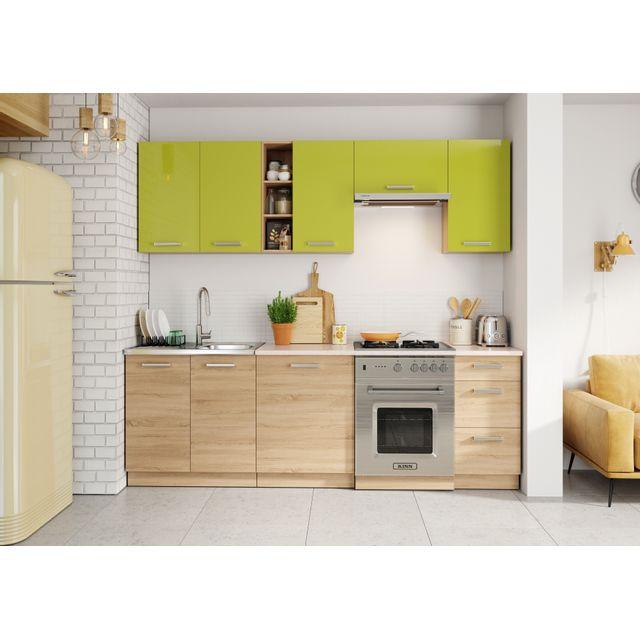 Baltic Meubles Cuisine Lena bois/vert - 2m40 - 8 meubles