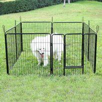 Rocambolesk - Superbe Parc pour chien enclos en fer pour animaux de compagnie amovible avec des panneaux modulaires noir Ppk88H neuf