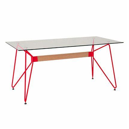 Table de séjour rectangulaire en verre trempé rouge