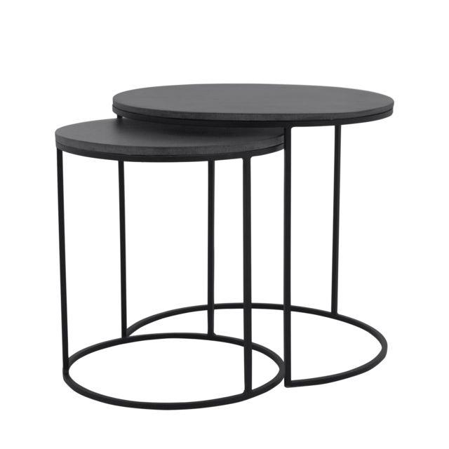 Rendez Vous Deco Table basse gigogne ronde Toba lavastone lot de 2