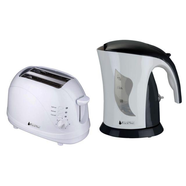 Blackpear Bouilloire 1L 1100W Blanc/Noir Black Pear Bsf1002 + Grille pain 2 fentes 700W Bgp105