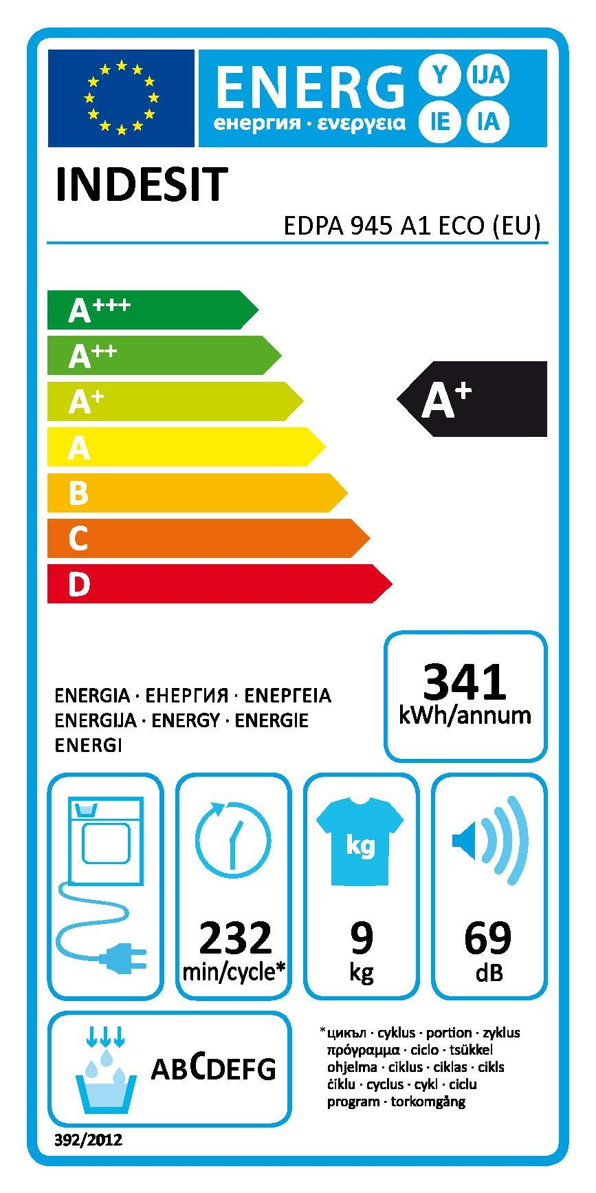 Sèche-linge Pompe à chaleur EDPA 945 A1 ECO (EU)