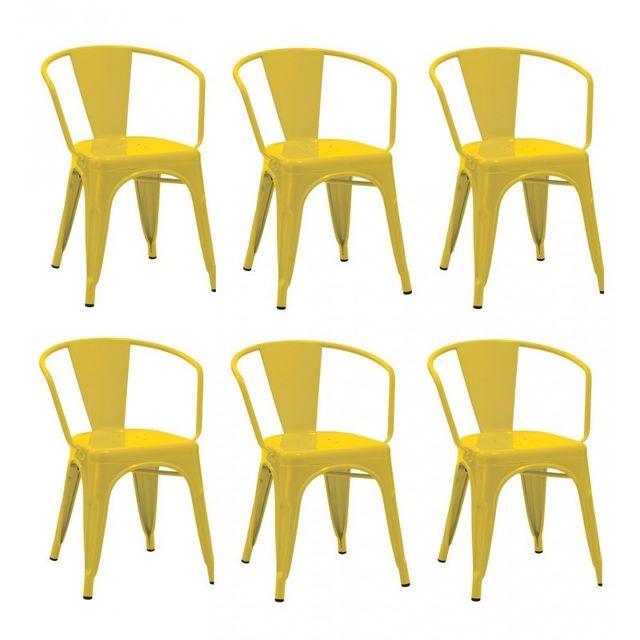 Autre Set De 6 Chaises Salle Manger Cuisine Style Industriel Mtal Jaune Cds09247