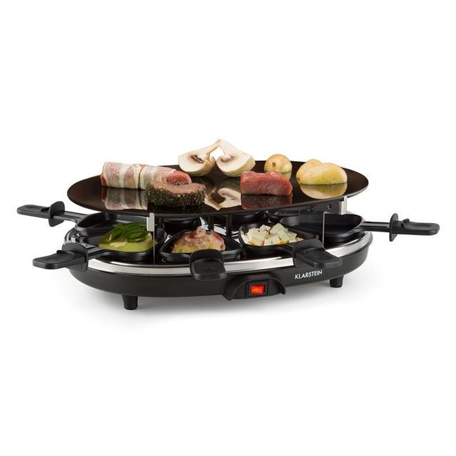 KLARSTEIN Blackjack Appareil à raclette grill 8 personnes verre céramique acier