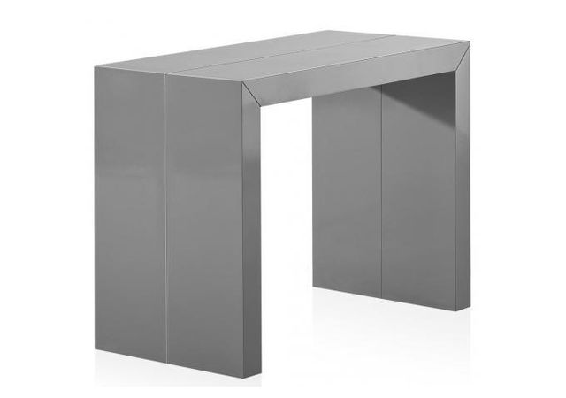 Declikdeco Table Console Extensible Gris Laque 3 Rallonges Nicky