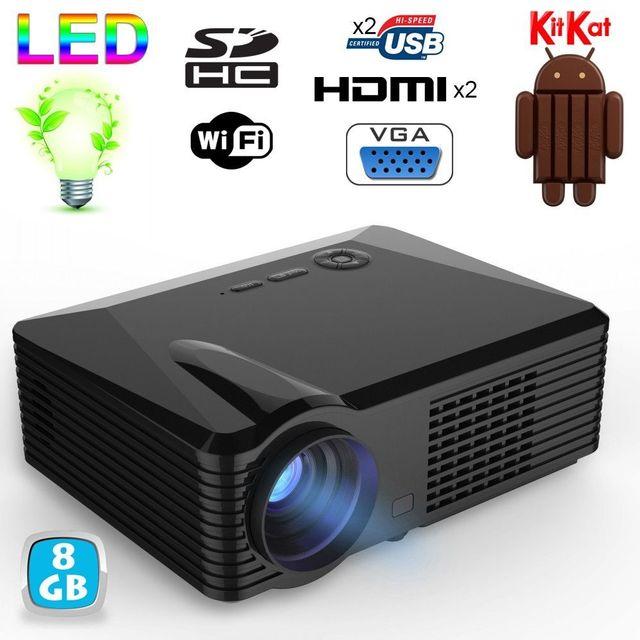 Yonis Vidéoprojecteur Wifi Full Hd 1080p 2500 Lumens Android 1 Go Ram Noir