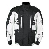 Karno-motorsport - Kd004 Veste moto textile type parka 3/4 blanche et noire