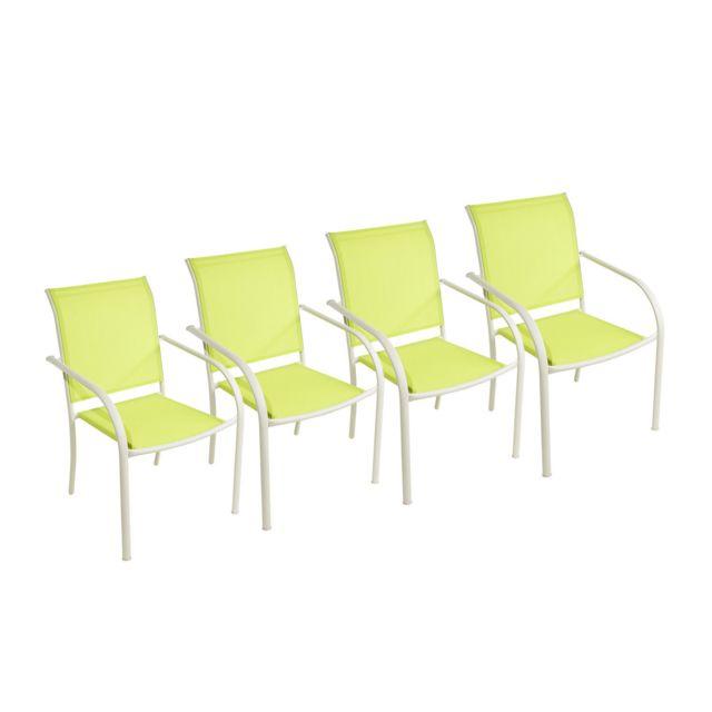 CARREFOUR - Lot de 4 fauteuils de jardin - Textilène - Vert ...