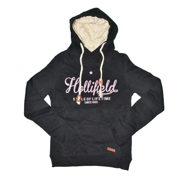 Hollifield - Sweat Capuche - Col Echarpe - Femme - Hfs57 - Noir Rose - pas  cher Achat   Vente Gilet femme - RueDuCommerce c6560cadcd07