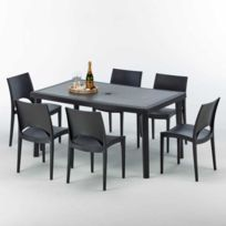 Grand Soleil - Table rectangulaire et 6 chaises Poly ro