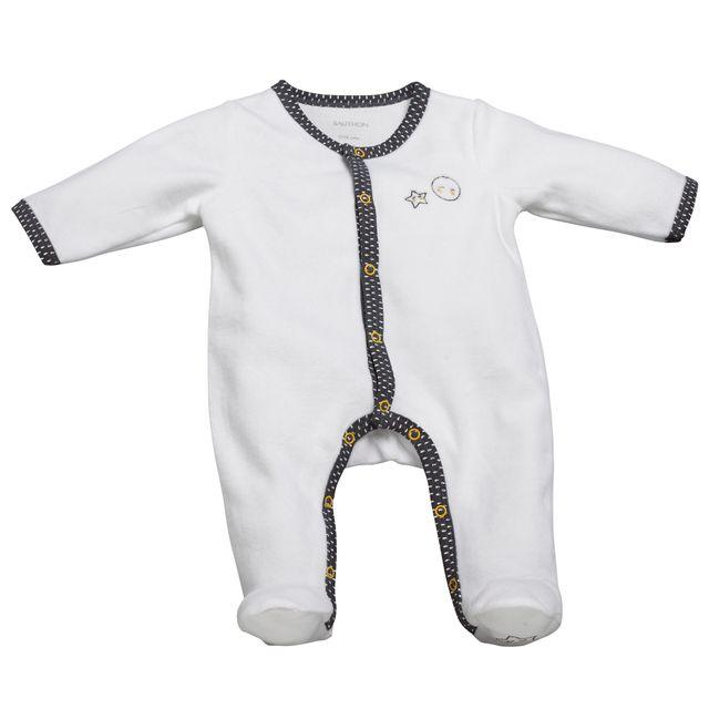 Nos packs de l expert. Sauthon - Pyjama bébé blanc gris naissance Babyfan 1e1e08e92b4