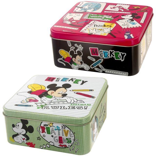 Disney Lot De 2 Boites De Rangement Mickey Rétro Affaires Ecole Métal